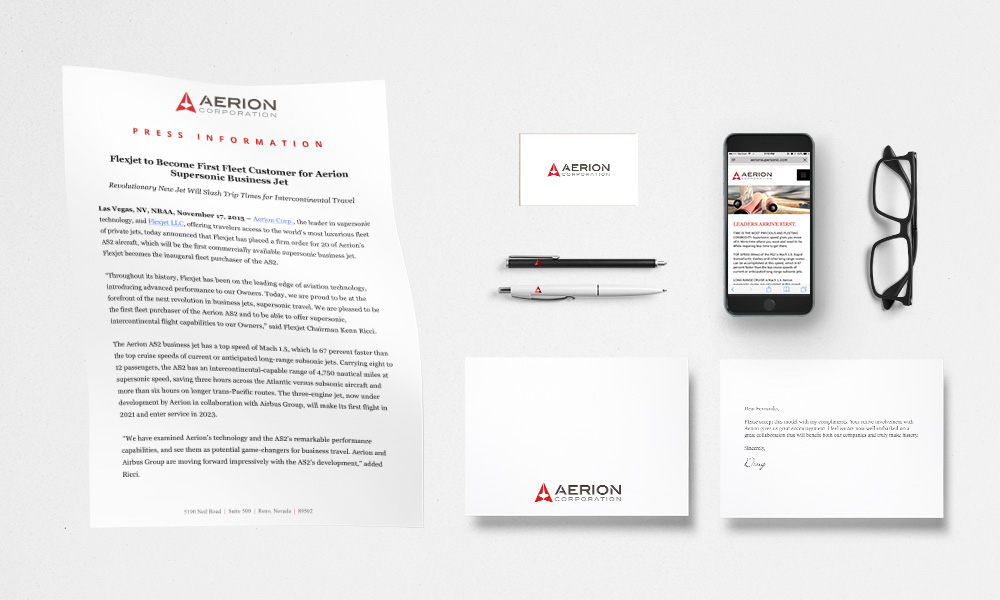 Aerion press information and identity materials