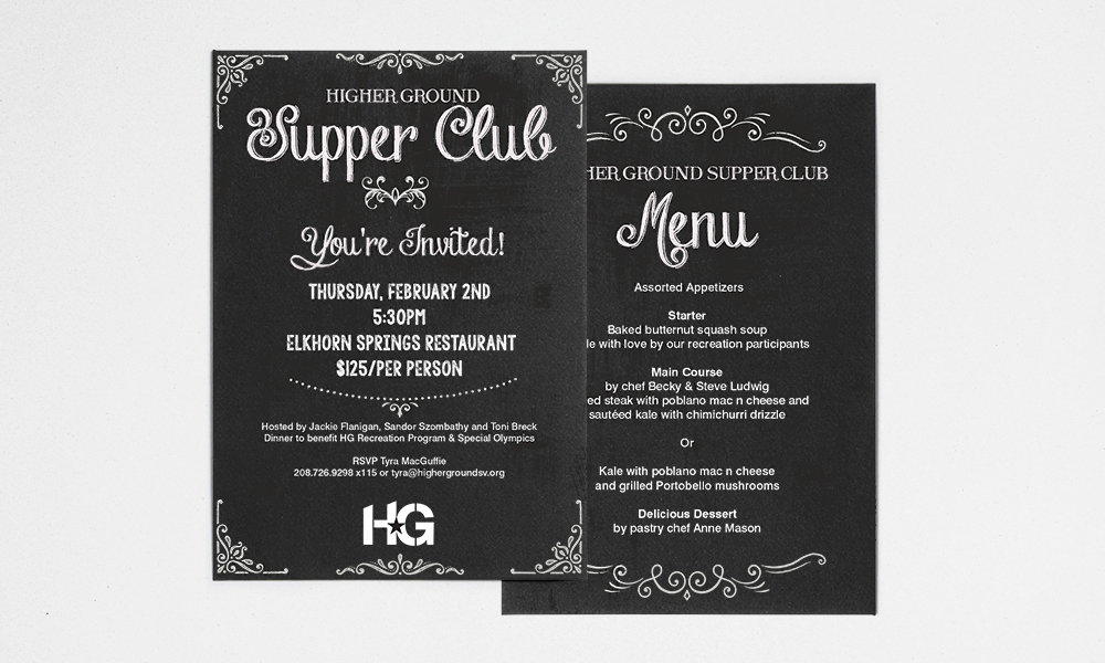Higher Ground Supper Club Invite and Menu