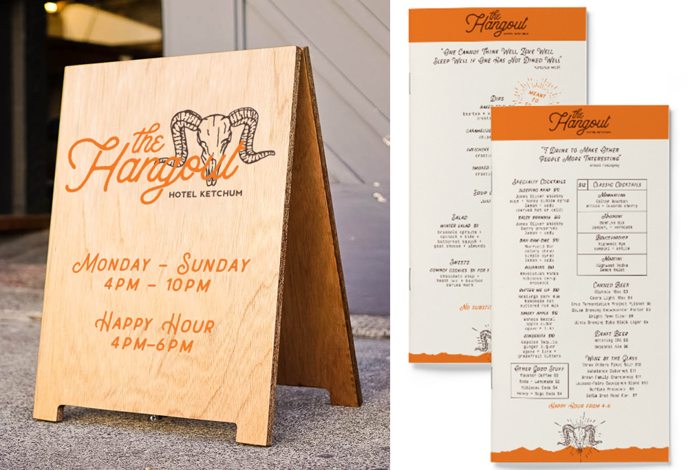 The Hangout Signage and Menu