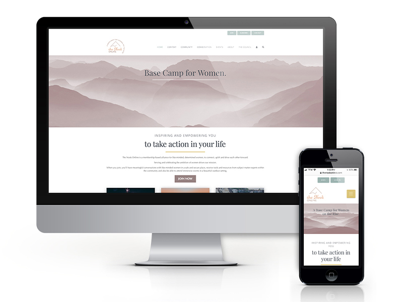 The Nook Online web and mobile mockup